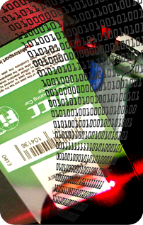 Barcode scanner with id card overlaid with binary digits to illustrate technologies.